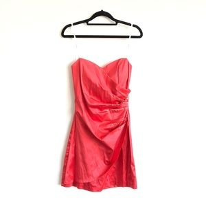 B Darlin Strapless Coral Formal Prom Mini Dress